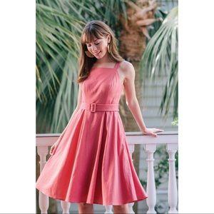 NEW Gal Meets Glam Ruth Rose Linen Midi Dress